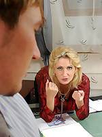 Fiery mature business-woman invites a young colleague for smutty discussion