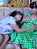 Lustful mommy kisses and tricks a naive young doll into having pink lunch